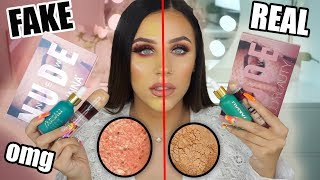 FULL FACE OF FAKE vs. REAL MAKEUP!! (DO NOT TRY THIS AT HOME!!)
