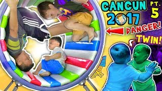 WHEELS ON THE BUS, OUCH!  WORLD'S COOLEST INDOOR PLAYGROUND Cancun Mexico Pt 5 v