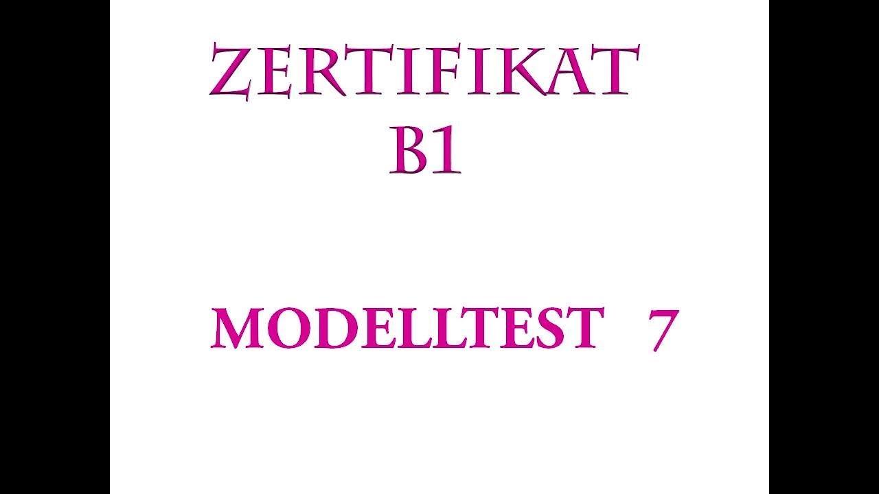Goethe Und ösd Zertifikat B1 Hören B1 Modelltest 7 Kompletter