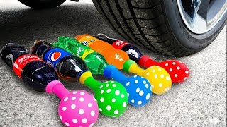 Crushing Crunchy & Soft Things by Car! Experiment Car vs Cola Slime Candy Toys Surprise Eggs