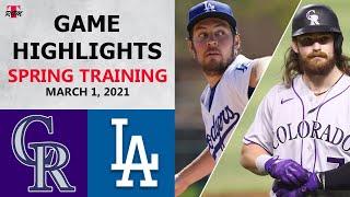Colorado Rockies vs. Los Angeles Dodgers Highlights | March 1, 2021 (Spring Training)