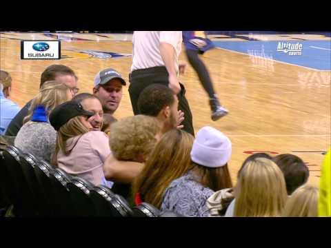 Javale McGee Kisses Denver Fan, She has Great Reaction