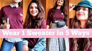HOW TO STYLE: 1 SWEATER IN 5 DIFFERENT WAYS | Winter Fashion 2018