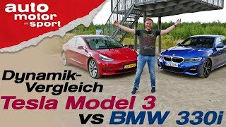 Wer ist dynamischer? Tesla Model 3 vs BMW 330i - Bloch erklärt #71 | auto motor & sport