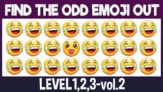 Find The Odd Emoji Out:3Levels1,2,3-vol.2| Spot The Difference Emoji| Emoji Puzzles
