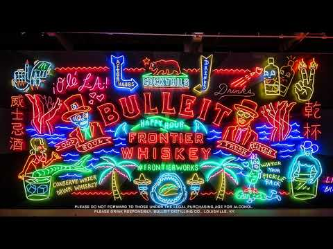 Preeminent neon bender Lisa Schulte was inspired by Bulleit's modern frontier story as she created this dynamic 26 ft. wide billboard in LA's Grand Central Market.