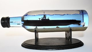 SUBMARINE FIRING TORPEDOES IN A BOTTLE / Diorama - Epoxy Resin Art