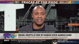 FIrst Take   Stephen A SHOCKED at multiple players threw punches at end of Kansas State-Kansas game
