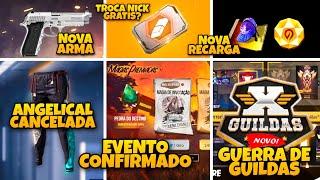 ANGELICAL AZUL CANCELADA, TROCA NICK GRATIS, MODO GUERRA DE GUILDAS E NOVA PISTOLA T9 - NOVIDADES FF