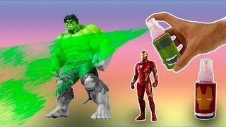 learn colors with superheroes marvel and paint with color paints hulk spider man and thanos