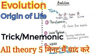 Evolution    Origin of life Theories    Trick/Mnemonic    NEET, AIIMS & JIPMER