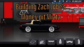 Pixel car racer building Zach jobe's money pit miata from Donut Media.