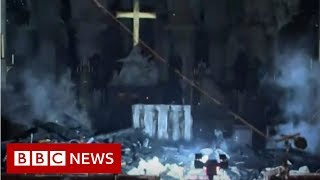 First look inside Notre-Dame after fire - BBC News - YouTube
