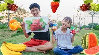 Kids Go to the park Learn colors Strawberry! Kids Paint Colors Apple Fruit Song Children