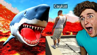 Scary MEGALODON Eats Me During LAVA Tsunami In GTA 5.. (Mods)