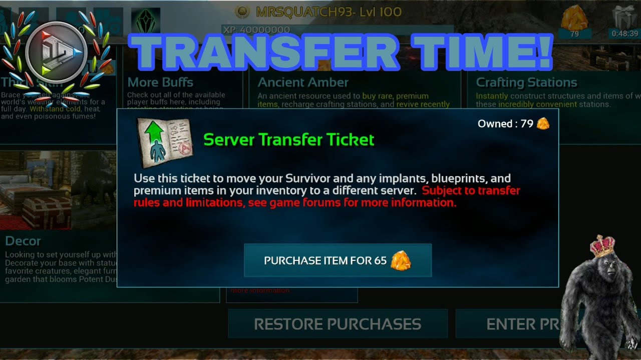 HOW TO TRANSFER SERVERS ON ARK MOBILE!