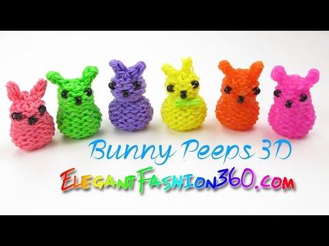 Rainbow Loom Marshmallow Bunny Peeps 3D Charm - How to Loom Bands