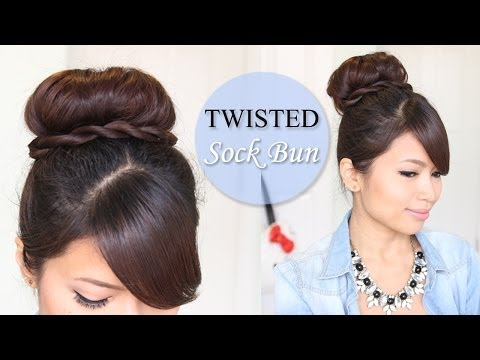 Twisted Sock Bun Updo Hairstyle   Long Hair Tutorial - Smashpipe Style