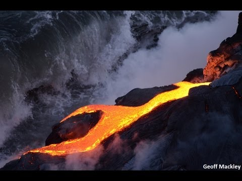 Spectacular video  lava flows into the sea at Kilauea Volcano  Hawaii  USA