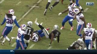 Marquette King Celebrates with Flag After Roughing the Kicker Penalty   Bills vs. Raiders   NFL