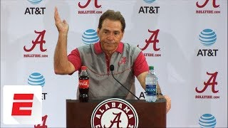 Nick Saban says Tua Tagovailoa hurt his thumb in practice, will take 'some time' to come back | ESPN