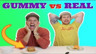 GUMMY FOOD VS REAL FOOD!! (EXTREME! *Eating giant alligator and frogs!)