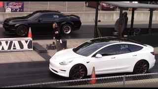 Tesla Model 3 vs Muscle Cars - GT500, Hellcat Redeye & Cadillac CTS-V 1/4 Mile Drag Races