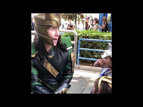 Loki takes Baby Loki and Little Thor to meet the Avengers at Disney California Adventure