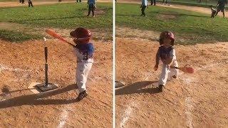 Little Kid Has A HILARIOUS Bat Flip!