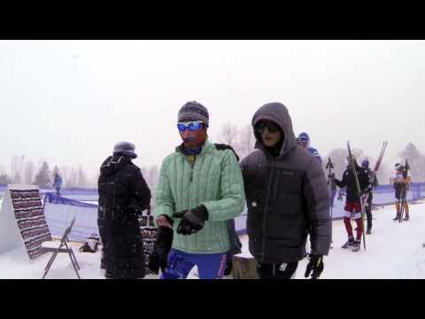 Steve Baskis starting the 15k race at the U.S. Cross Country Skiing Senior National Championships