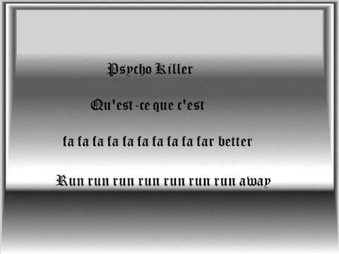 Baixar Talking Heads-Psycho Killer Lyrics