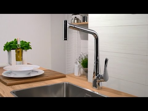 Hansgrohe Metris Single Lever Sink Mixer with Pull-Out Spray