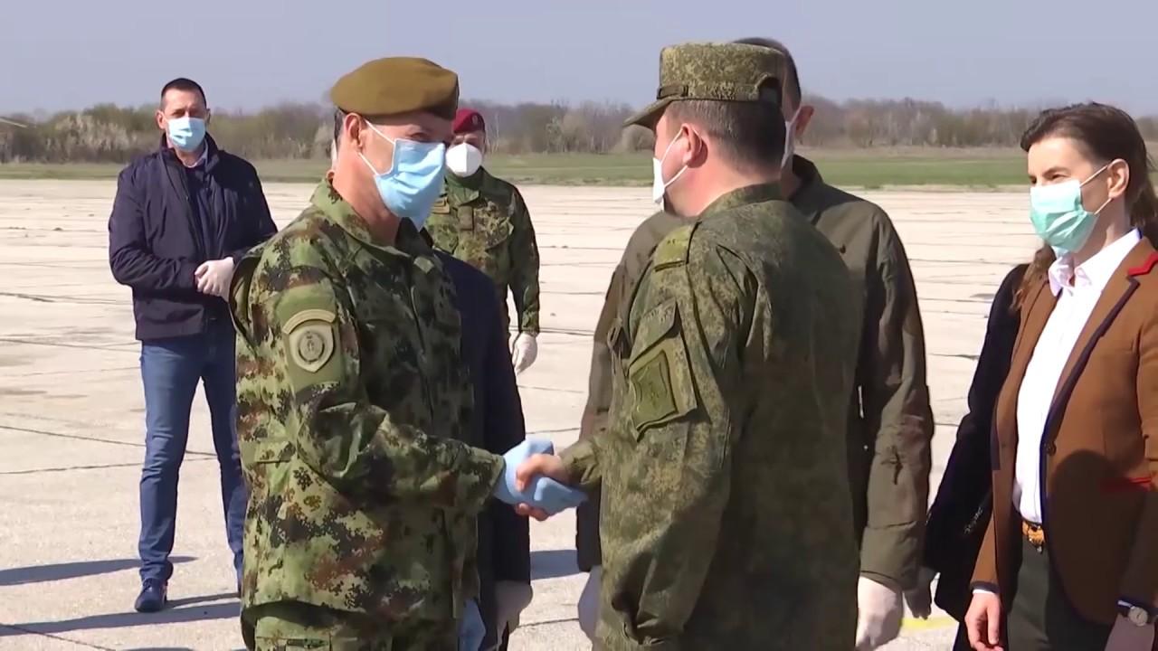 Прибытие россиян в Сербию для помощи в борьбе с коронавирусом