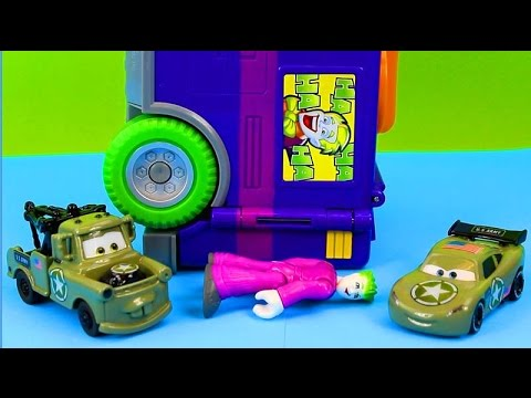 Disney Pixar Cars Army Car McQueen & Mater Defeat the Joker and Bane Mission Complete! Just4fun290