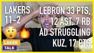 Lakers Get Win Over Hawks, LeBron 33 pts, AD Struggles, Kuz & KCP Good Games