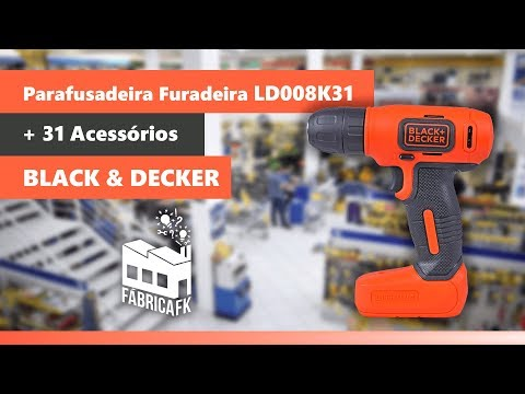 Parafusadeira e Furadeira 8V LD008K31 Black&Decker + 31 Acessórios - Vídeo explicativo