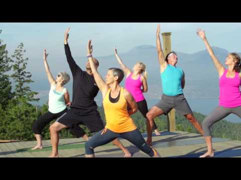 Yoga class on a mountain