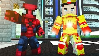 SPIDERMAN VÀ NGƯỜI SẮT GIẢI CỨU ELSA - Minecraft Siêu Anh Hùng