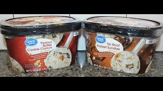 Great Value: Peanut Butter Cookie Crunch & Tin Roof Pretzel Sundae Ice Cream Review