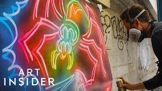 How A Street Artist Creates Fake Neon Lights With Spray Paint