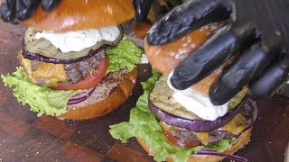 Burgers and Juicy Meat on Grill. Street Food in Minsk, Belarus