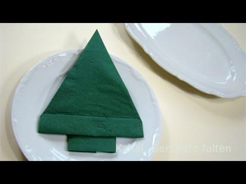 servietten falten weihnachten tannenbaum als tischdeko youtube. Black Bedroom Furniture Sets. Home Design Ideas