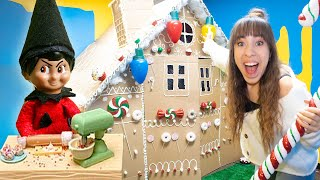 24 Hours in a GIANT Gingerbread House in Real LIFE! (Bad Elf on the Shelf!)