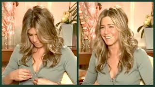 When JENNIFER ANISTON admits she still watches FRIENDS on TV... (and then her button pops...)