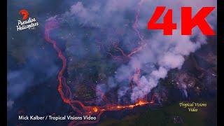DFN:Hawaii volcano eruption: Lava enters SEA sending hydrochloric acid and GLASS into air - 4K Video