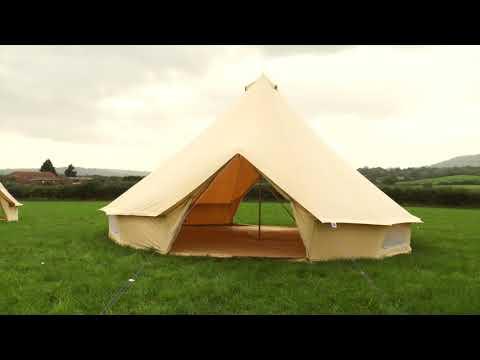 Boutique Camping XL 7m Sandstein Rundzelt mit Reißverschluss-Bodenplane