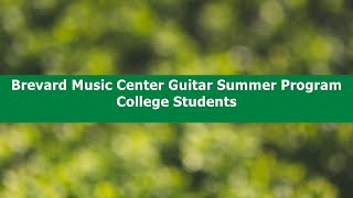 Summer Classical Guitar Programs for College Students