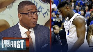 Cris and Nick react to Zion & Duke's Elite 8 loss to Michigan State | CBB | FIRST THINGS FIRST