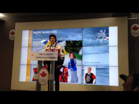 Mark McMorris gives his thanks from Canada Olympic House