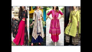 How to style Kurti with Palazzo||Plazzo with Long  Kurti set designs||Indian Ethnic Wear||